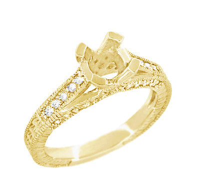 X & O Kisses Yellow Gold 1/2 Carat Diamond Engagement Ring Setting - Item: R1153Y50K14 - Image: 2