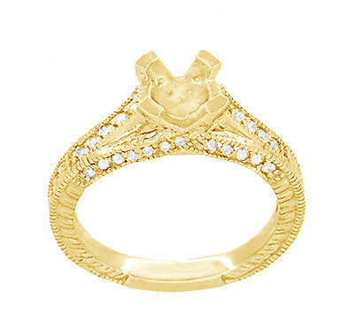 X & O Kisses Yellow Gold 1/2 Carat Diamond Engagement Ring Setting - Item: R1153Y50K14 - Image: 3