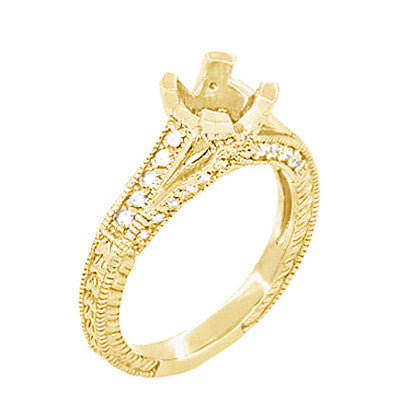 X & O Kisses Yellow Gold 1/2 Carat Diamond Engagement Ring Setting - Item: R1153Y50K14 - Image: 1