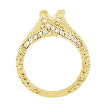 X & O Kisses 1/2 Carat Diamond Engagement Ring Setting in 18 Karat Yellow Gold