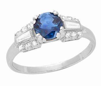 Belden Cornflower Vintage Platinum Sapphire Engagement Ring with Side Baguette Diamonds
