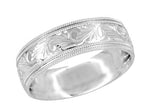 Men's Art Deco Hand Engraved Vintage Scrolls Double Millgrain Edge 7mm Wide Wedding Band in 14 Karat White Gold