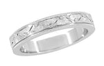 Mens Art Deco Antique Style Engraved Floral Millgrain Edged Wedding Ring in 14K White Gold | 4mm