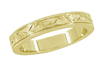 1920's Design Art Deco Yellow Gold Vintage Style Engraved Floral Wedding Ring with Millgrain Edge - 4mm Wide