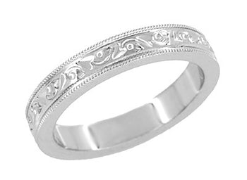 Antique Style Art Deco Flowers and Leaves Millgrain Edged Wedding Band in White Gold