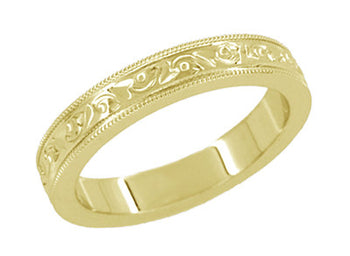 Art Deco Carved Flowers and Leaves Millgrain Edged Vintage Style Yellow Gold Wedding Band