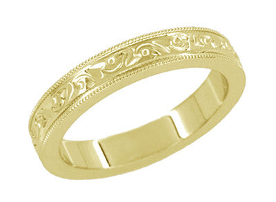 Vintage Yellow Gold Gender Neutral Wedding Band with Hand Carved Flowers and Leaves in 18K or 14K - R1160Y