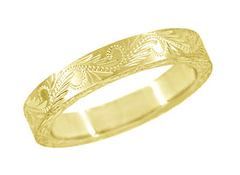 Western Engraved Scrolls & Leaves Antique Style Wedding Band in Yellow Gold - 4mm Wide