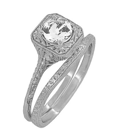 Art Deco Curved Engraved Wheat Wedding Ring in Platinum - Item: R1166P - Image: 2