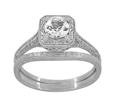 Art Deco Curved Engraved Wheat Wedding Ring in Platinum - Item: R1166P - Image: 3