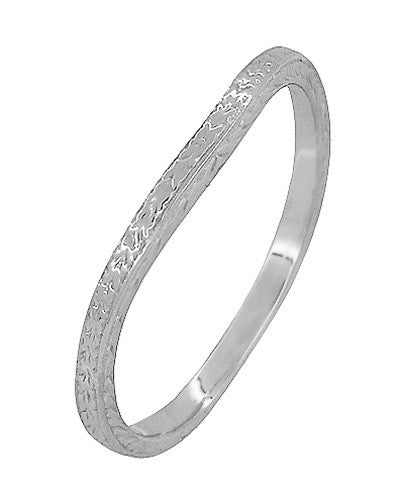 Art Deco Curved Engraved Wheat Wedding Ring in Platinum - Item: R1166P - Image: 1
