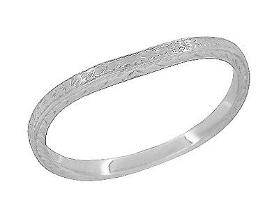 Art Deco Curved Engraved Wheat Wedding Ring in Platinum
