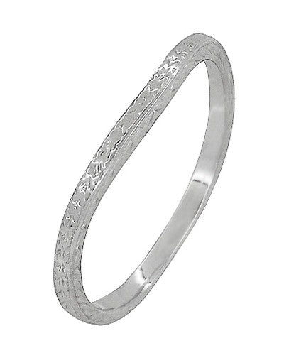 Art Deco Curved Engraved Wheat Wedding Ring in 14 Karat White Gold - Item: R1166W - Image: 1