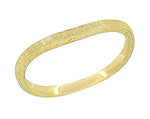 14 Karat Yellow Gold Art Deco Engraved Wheat Contoured Thin Wedding Ring