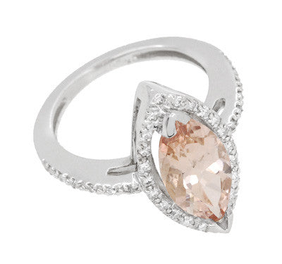 Mid Century Marquise Morganite Statement Ring with Diamonds in 18 Karat White Gold - Item: R1167 - Image: 2