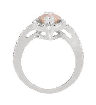 Mid Century Marquise Morganite Statement Ring with Diamonds in 18 Karat White Gold - Item: R1167 - Image: 3