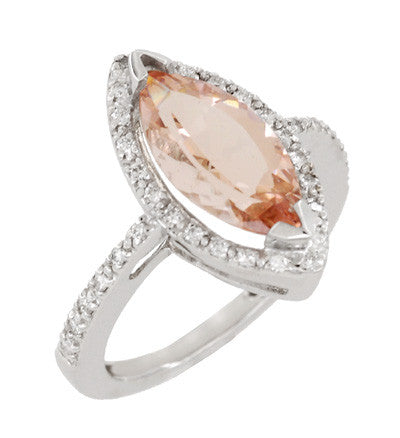 Mid Century Marquise Morganite Statement Ring with Diamonds in 18 Karat White Gold - Item: R1167 - Image: 1