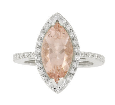 Mid Century Marquise Morganite Statement Ring with Diamonds in 18 Karat White Gold