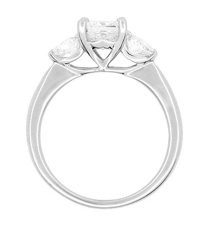 Ritani 1 Carat Princess and Heart Shaped Diamonds 3 Stone Engagement Ring in Platinum - 1.60 Carats Total Diamond Weight - Item: R1168 - Image: 2