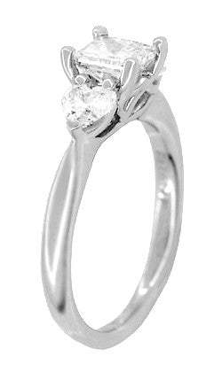 Ritani 1 Carat Princess and Heart Shaped Diamonds 3 Stone Engagement Ring in Platinum - 1.60 Carats Total Diamond Weight - Item: R1168 - Image: 1