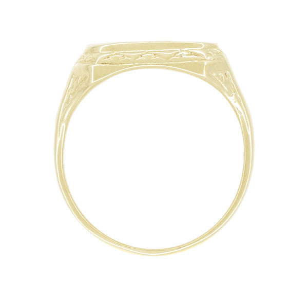 Vintage Style Victorian Rectangle Seal Signet Ring for Men in 14 Karat Yellow Gold - Item: R1169Y - Image: 1