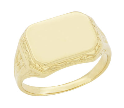 Vintage Style Victorian Rectangle Seal Signet Ring for Men in 14 Karat Yellow Gold