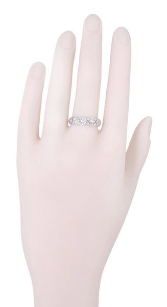 Lakeville Estate Diamond Wedding Band in Platinum - Art Deco Filigree - Size 8.5 - Item: R1172 - Image: 1