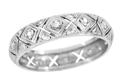 Lakeville Estate Diamond Wedding Band in Platinum - Art Deco Filigree - Size 8.5