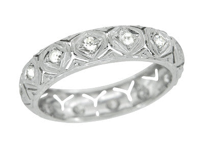 Art Deco Hampton Diamond 1920s Antique Wedding Band in Platinum