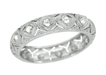 Art Deco Hampton Diamond 1920's Antique Wedding Band in Platinum - Size 8 1/4