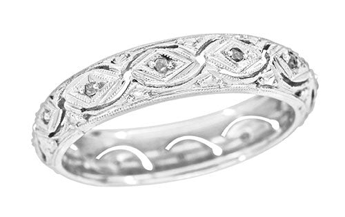 Vintage Edwardian Crescent Scalloped Filigree Gray Diamond Wedding Band in Platinum - Size 8 3/4
