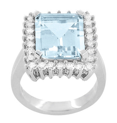 Emerald Cut Aquamarine Ballerina Ring with Diamonds in 18 Karat White Gold - Item: R1176WA - Image: 2