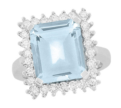 Emerald Cut Aquamarine Ballerina Ring with Diamonds in 18 Karat White Gold - Item: R1176WA - Image: 3
