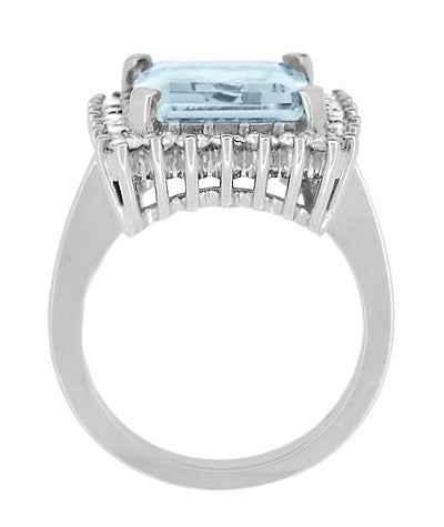 Emerald Cut Aquamarine Ballerina Ring with Diamonds in 18 Karat White Gold - Item: R1176WA - Image: 4