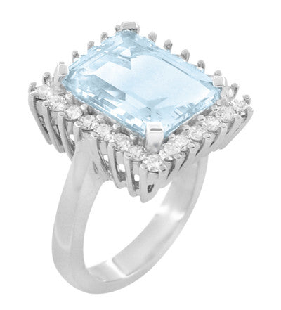 Emerald Cut Aquamarine Ballerina Ring with Diamonds in 18 Karat White Gold - Item: R1176WA - Image: 1