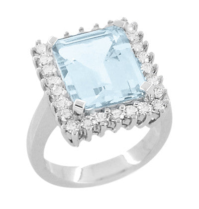 Emerald Cut Aquamarine Ballerina Ring with Diamonds in 18 Karat White Gold