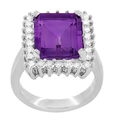 Retro Amethyst Cocktail Ring with Diamonds in 18 Karat White Gold - Item: R1176WAM - Image: 2