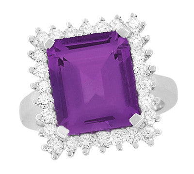 Retro Amethyst Cocktail Ring with Diamonds in 18 Karat White Gold - Item: R1176WAM - Image: 3