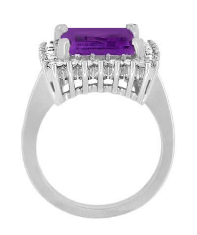 Retro Amethyst Cocktail Ring with Diamonds in 18 Karat White Gold - Item: R1176WAM - Image: 4