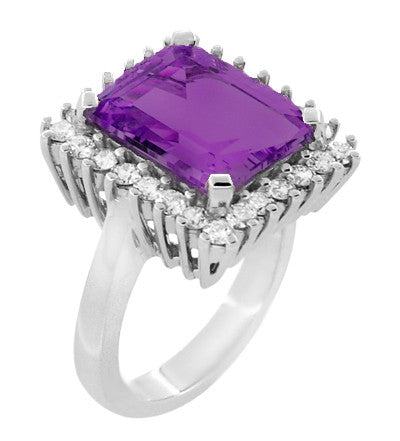 Retro Amethyst Cocktail Ring with Diamonds in 18 Karat White Gold - Item: R1176WAM - Image: 1