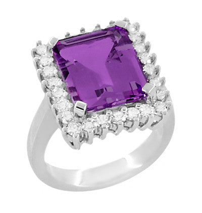 Retro Amethyst Cocktail Ring with Diamonds in 18 Karat White Gold