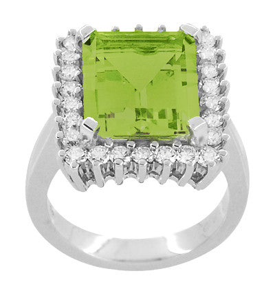 1950's Emerald Cut Peridot Ballerina Ring with Diamonds in 18 Karat White Gold - Item: R1176WPER - Image: 2