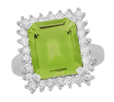 1950's Emerald Cut Peridot Ballerina Ring with Diamonds in 18 Karat White Gold - Item: R1176WPER - Image: 3