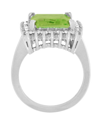 1950's Emerald Cut Peridot Ballerina Ring with Diamonds in 18 Karat White Gold - Item: R1176WPER - Image: 4