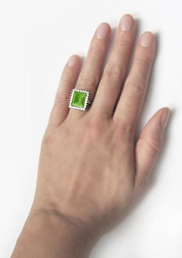 1950's Emerald Cut Peridot Ballerina Ring with Diamonds in 18 Karat White Gold - Item: R1176WPER - Image: 5