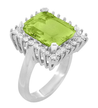 1950's Emerald Cut Peridot Ballerina Ring with Diamonds in 18 Karat White Gold - Item: R1176WPER - Image: 1