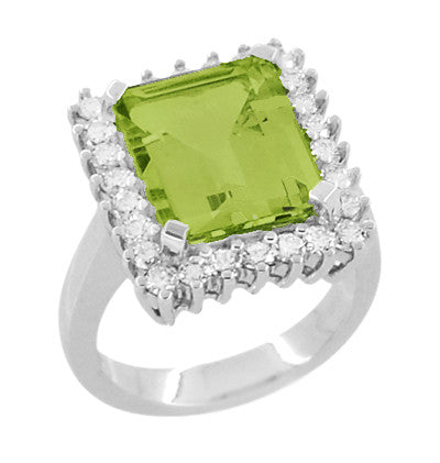 1950's Emerald Cut Peridot Ballerina Ring with Diamonds in 18 Karat White Gold