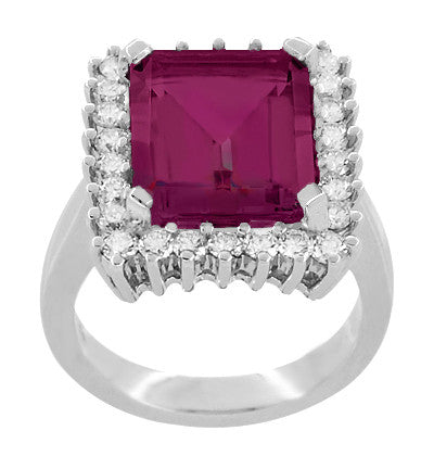 Emerald Cut Rubellite Tourmaline Ballerina Ring with Diamonds in 18 Karat White Gold - Item: R1176WRG - Image: 2