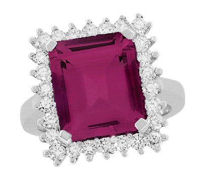 Emerald Cut Rubellite Tourmaline Ballerina Ring with Diamonds in 18 Karat White Gold - Item: R1176WRG - Image: 3
