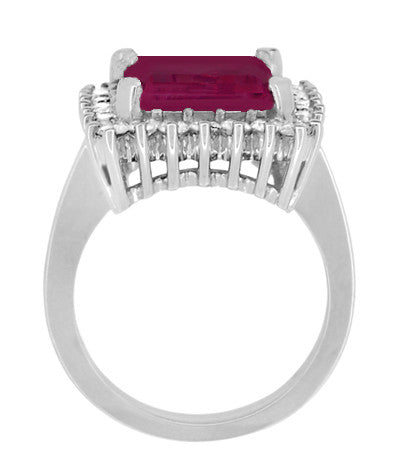 Emerald Cut Rubellite Tourmaline Ballerina Ring with Diamonds in 18 Karat White Gold - Item: R1176WRG - Image: 4